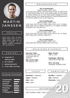 Modern CV sjabloon. Zelf te bewerken in MS Office. Inclusief bijpassend sollicitatiebrief sjabloon. Direct downloadbaar: http://deleydsche.nl/product/cv-sjabloon-20