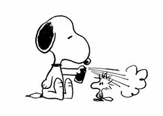Getting your hair done, with Snoopy and Woodstock