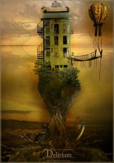 ♂ Dream Imagination Surrealism Impressive and Creative Digital surreal art old tree house