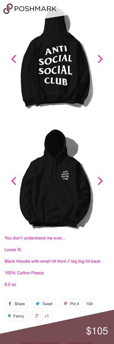 Anti Social Social Club Black Hoodie S 100% Authentic , used great condition. Will add photos later. SOLD OUT ONLINE!!!!! NO TRADeS Anti Social Social Club Tops Sweatshirts & Hoodies