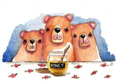 Original watercolor painting whimsical Three Little Bears beary nice honey pot  #IllustrationArt