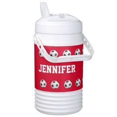 Personalized Igloo Beverage Cooler Soccer Red - This personalized, insulated Igloo beverage cooler is a fun gift for a soccer player, coach, fan, or team . Red and White - are they your team colors? NAME repeats 3 times -easy to modify - Just change it in one place. Supports text up to 9 characters. Very bright and eye catching. Cooler holds up to 1/2 gallon; you can easily change to other sizes. All Rights Reserved © 2014 Alan & Marcia Socolik.