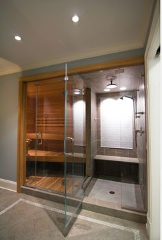 Nice home feature Steam room and Sauna in the home great to add to a pool house, home gym. Home Steam Room, Sauna Steam Room, Sauna Room, Steam Room Shower, Saunas, Bad Inspiration, Bathroom Inspiration, Basement Sauna, Basement Bathroom