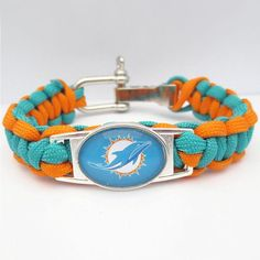 NFL Miami Dolphins Football Team Paracord Bracelet