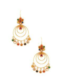 Amrapali Diamond & Navaratna Earrings in Gold