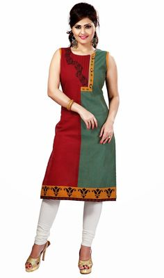 This jade green and maroon cotton tunic is perfect for any evening get together party. Tunic is garnished with half n half with silk thread embroidered floral design, beads and paisley design in the hem which makes you too look quite stylish and graceful. #StylishClassicalKurtis