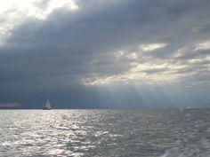 At sea between the island Cayo Levantado and Samana