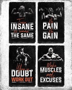 Bodybuilding Motivational Fitness Posters Set of Four. Wall Art Inspiration and Quote Decals with Workout, Weight Lifting and No Excuses Inspirational Images. No Pain No Gain Prints. Great Mens Gifts