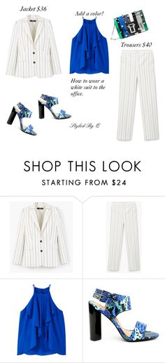 """White Suit To Work!"" by quintan ❤ liked on Polyvore featuring MANGO and Proenza Schouler"