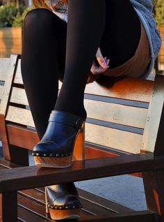 6a9ba7d4e1 tights with wooden high heeled black leather clogs
