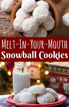 favorite christmas cookies Weihnachtspltzchen Melt-In-Your-Mouth Snowball Cookies are my absolute favorite Christmas cookies! These buttery shortbread cookies are always a favorite with everyone. Cocoa Cookies, Peppermint Cookies, Christmas Chocolate Chip Cookies, Holiday Cookies, Snowball Cookies Pecan, Cookies Best, Chocolate Snowball Cookies Recipe, Snowballs Recipe, Deserts