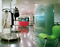 Hysterie Boutique by Marc Newson, 1992 Laser Cut Aluminum, Clothing Displays, Egg Chair, Diffuser, Designers, Interiors, Flooring, Contemporary, Boutique