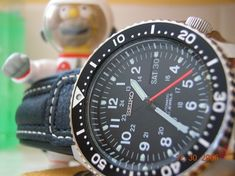 SKX007K mod - dial replacement from a 7s-caliber Seiko military automatic & custom made red second hand