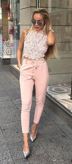 cool pink outfit idea top + heels + pants