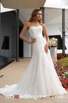 Best Lovely Chapel Train Ruffled Organza Wedding Dresses - Shop Online for Cheap Wedding Dresses