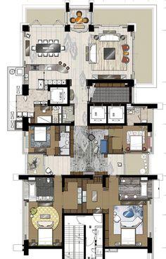 """看看邱德光如何玩转""""大平层"""" 5876489 Detail Architecture, Architecture Plan, Interior Architecture, Apartment Floor Plans, House Floor Plans, Interior Design Layout, Layout Design, Hotel Room Design, Apartment Layout"""