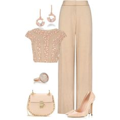 A fashion look from October 2015 featuring Jaeger pants, Chloé shoulder bags et Chopard earrings. Browse and shop related looks.