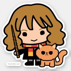 Shop Cartoon Hermione and Crookshanks Sticker created by harrypotter. Harry Potter Tumblr, Harry Potter Anime, Cute Harry Potter, Harry Potter Drawings, Harry Potter Characters, Kawaii Drawings, Cartoon Drawings, Cute Drawings, Cartoon Cartoon