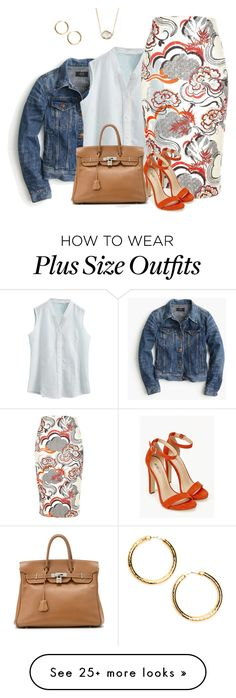 """plus size spring/summer office chic"" by kristie-payne on Polyvore featuring J.Crew, River Island, JustFab, Hermès and Jules Smith"