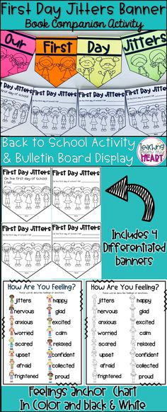 This First Day Jitters differentiated banner is a perfect activity to complete after reading the book First Day Jitters by Julie Dannenberg. It includes four differentiated banners for grades first-fifth and/or for emergent & at/above grade level writers. Teaching First Grade, First Grade Classroom, Future Classroom, First Day Jitters, First Day Of School, School Days, Online Shopping For Boys, Back To School Essentials, Schools First