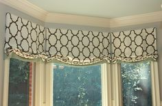 "Custom window valances in Kravet's ""Riad"" fabric by www.newsouthdesign.com"