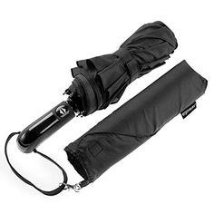 Totes Mini Fin Plat Hommes Parapluie Noir