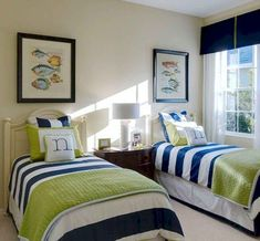 shared beach house bedroom nautical upscale Gallery @ Charlene Neal: Pure Style For my blue rooms! Beach House Bedroom, Beach House Decor, Home Bedroom, Bedroom Decor, Home Decor, Master Bedroom, Beach Houses, Bedroom Boys, Boys Nautical Bedroom