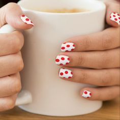 """""""Red Polka Dotted"""" Nail Stickers"""