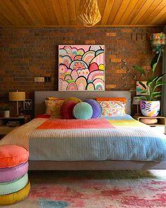 Room Ideas Bedroom, Bedroom Decor, Shabby Bedroom, Pretty Bedroom, Colourful Living Room, Colourful Home, Colourful Bedroom, Colorful Bedding, Colorful Decor