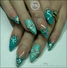 Pretty Turquoise Nails, With 3D Flowers, Glitter & Bling Bling!