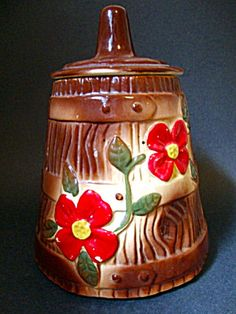 Churn Cookie Jar, Red Floral Decoration