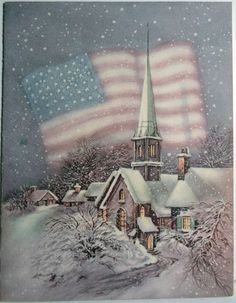 40s WWII Patriotic American Flag in The Snow Vintage Christmas Card