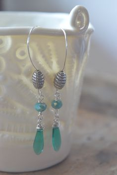 Sea green crystal earings dangle drop earings light by MiluStore