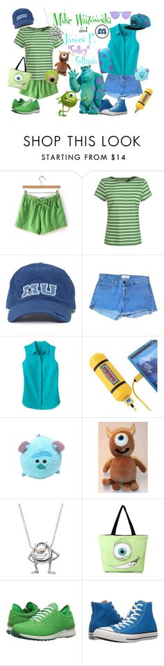 """Mike and Sulley Inspired Outfit"" by bunnyarielle ❤ liked on Polyvore featuring Disney, Seasalt, American Apparel, TravelSmith, INC International Concepts, ECCO, Converse, Illesteva, monstersinc and disneybound"