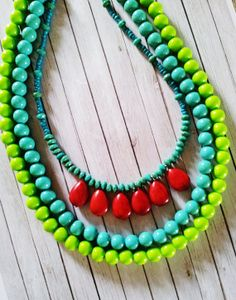lime green, turquoise, red color scheme- love this combo