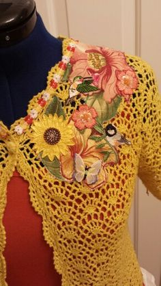 Upcycled Crocheted Top Applique Detail