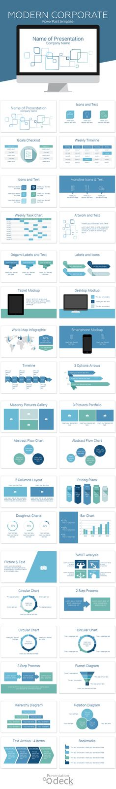 Modern corporate PowerPoint template with a clean illustration of abstract rounded squares on a white background. This template could be used for a wide range of topics and fit perfectly for a corporate report or training presentation. Check it out!