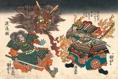 酒呑童子退治 1840-1843  Samurai vs. demon.The severed head of the Shuten-dôji, belching flames, in the air above Watanabe no Tsuna, while Raikô poises his sword in readiness