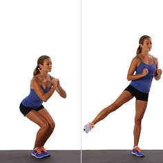 Squat With Side Leg-Lift: This squat variation will target your outer thighs and butt.   Stand with your feet shoulder-width-distance apart, feet parallel. Hold your hands out in front of you for balance. Bend your knees, lowering your hips deeply, so your thighs are parallel with the floor, keeping weight back in your heels. Then rise back up, straightening the legs completely and lifting the left leg out to the side, squeezing the outer glute. As you step the foot back into shoulder-width-dis…
