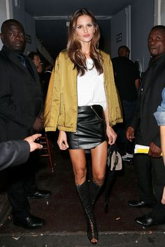 Sexy Winter Outfit Ideas From Victoria's Secret Models: Glamour.com zabel Goulart As you can see, the Angels love a leather skirt. Winter-proof the staple with boots that hit near the knee, and add wool-lined tights in especially cold locales.