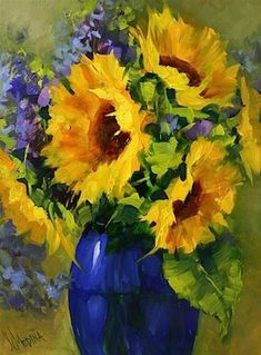"""Sun Star Sunflowers and a Painting Giveaway by Texas Artist Nancy Medina"" - Original Fine Art for Sale - © Nancy Medina"