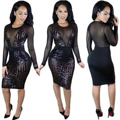 Black Patchwork Sequin See-Through Long Sleeve Bodycon Sexy Mini Dress Women's Fashion Dresses, Sexy Dresses, Girls Dresses, Hijab Fashion, Club Party Dresses, Party Dresses For Women, Birthday Dresses, Sequin Mesh Dress, Vintage Style Dresses