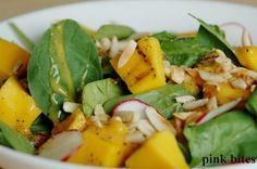 """Grilled Mango and Spinach Salad. I could """"grill"""" the mango on my George Forman :)"""