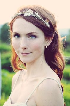 delicate bridal makeup look + jeweled headband // photo by BirkePhoto.com