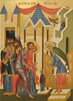 The Entrance of the Most Holy Theotokos into the Temple is one of the great Church feasts; it is connected with the event when the Most Holy Theotokos was brought into the temple of Jerusalem by her parents to be consecrated to God. Pictures Of Jesus Christ, White Lake, Santa Ana, Russian Icons, High Priest, Byzantine Icons, Orthodox Icons, 14th Century, Fresco