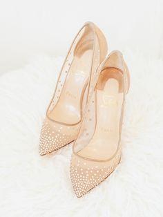 16416e291f5 Christian Louboutin Follies Strass Rete Suede Lame 100 mm Bridal Nude  Wedding Shoes Zapatos De