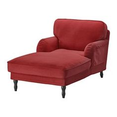 IKEA - STOCKSUND, Chaise, Ljungen light red, black, , Extra wide and deep armchair with plenty of room for you to sit and relax comfortably.You get extra soft comfort and support because the thick cushion has a core of pocket springs and a top of cut foam and polyester fibers.The core of pocket springs is durable and keeps its form and soft comfort for a longer time.The cover is easy to keep clean as it is removable and can be machine washed.Tailored cover in durable polyester with a soft…