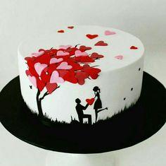 Bolo Hobbit, Hobbit Cake, Heart Shape Cake Design, Aniversary Cakes, Fountain Wedding Cakes, Birthday Cake For Boyfriend, Cake Icon, Happy Anniversary Cakes, Chocolate Ganache Cake