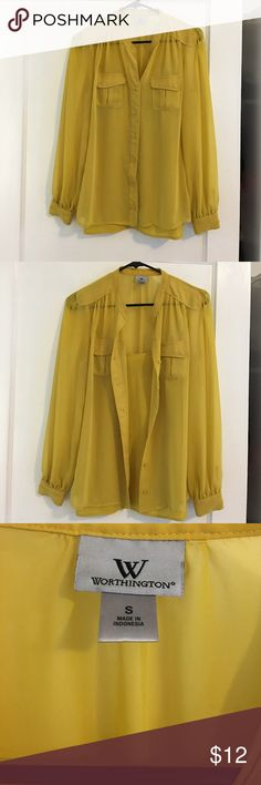 Mustard Yellow Blouse & Cami Mustard yellow military-style blouse that comes with solid camisole. Hardly worn and in excellent condition! Worthington Tops Blouses
