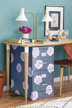 Low-Budgest Project to Upgrade Filing Cabinets #diy #homeoffice #homedecor